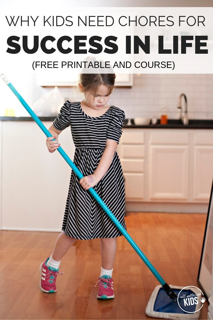 Research shows that giving kids chores can help themin school, with relationships, and later in their professions. Includes access to a free printable of Age Appropriate Chores for Children and a free kids chores course. #kidschores #choresforkids #responsiblekids #parentingadvice #parentingtips