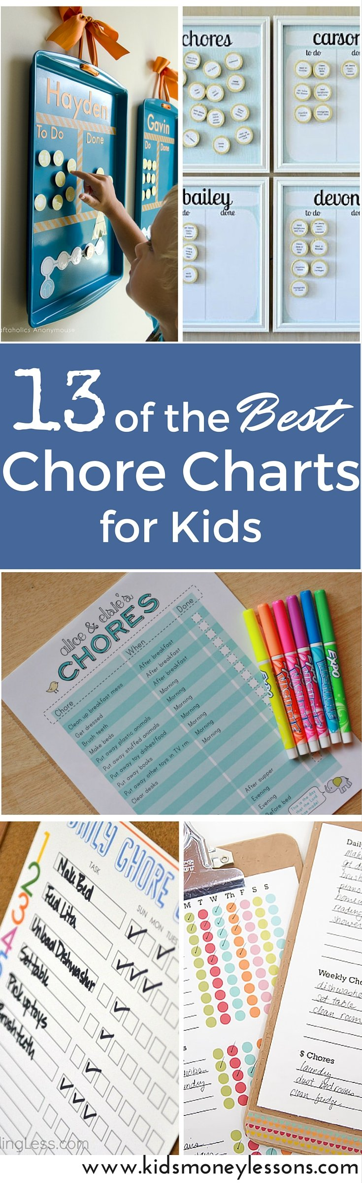Chores are a great way to teach kids responsibility, independence, and self-sufficiency. Getting started with kids assigned chores can be challenging, but getting organized can help. Use one of these chore charts for kids to get started. #chorecharts #chorechartforkids #chorechartideas