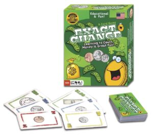 Exact Change Card Game: Kids will have fun playing the Exact Change game while also learning the difference between pennies, nickels, dimes, quarters, and bills.