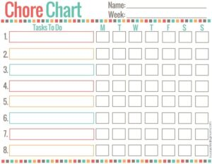 Freebie finding mom chore chart