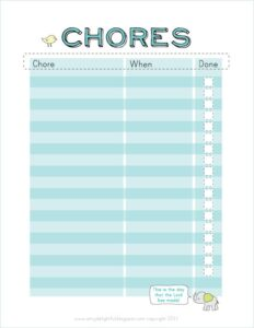 The Life of Amy J Delightful Chore Chart