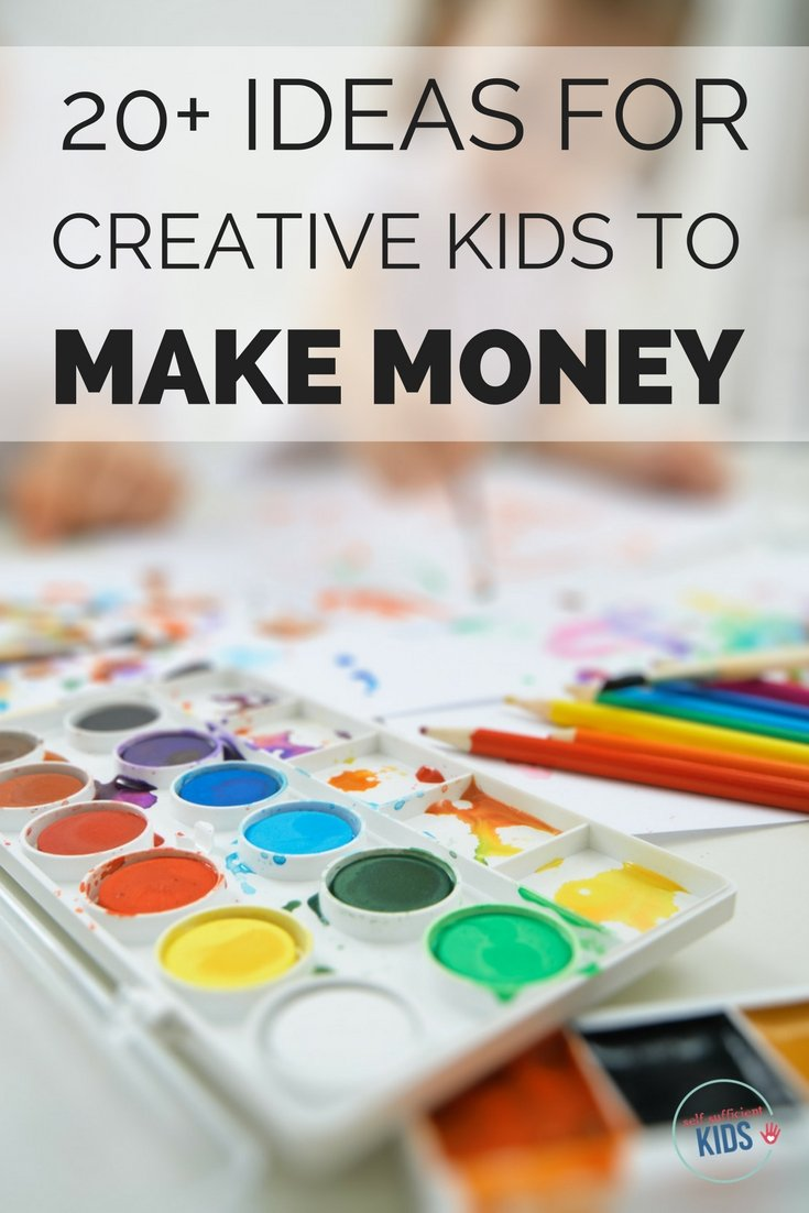 Are you a creative kid or teen who wants to make money? Here are 20+ ways you can use your creativity to earn money. #kidsmakemoneyideas