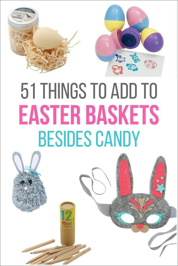 A list of 51 things you can include in your kids' Easter baskets instead of candy. These alternatives to Easter candy will still make Easter morning special and fun for your kids.