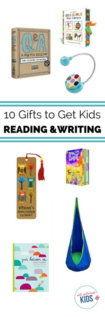 Forget toys and gadgets - get kids gifts they'll both love and that will encourage them to read and write. Great ideas in here to grow life-longer learners. #books #childrensbooks #writing #kids #readers #gifts #giftgiving