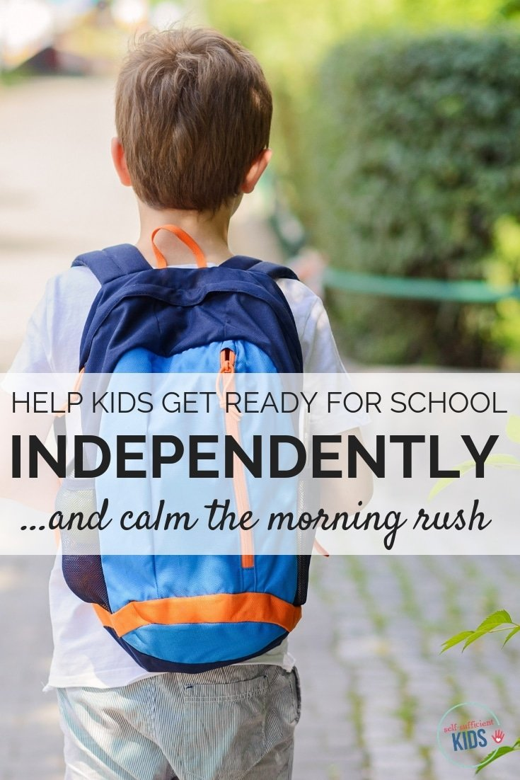School day mornings can be crazy...but there's a really easy way to help your kids get ready for school independently with no nagging from you. #morningroutinechecklist #gettingreadyforschool