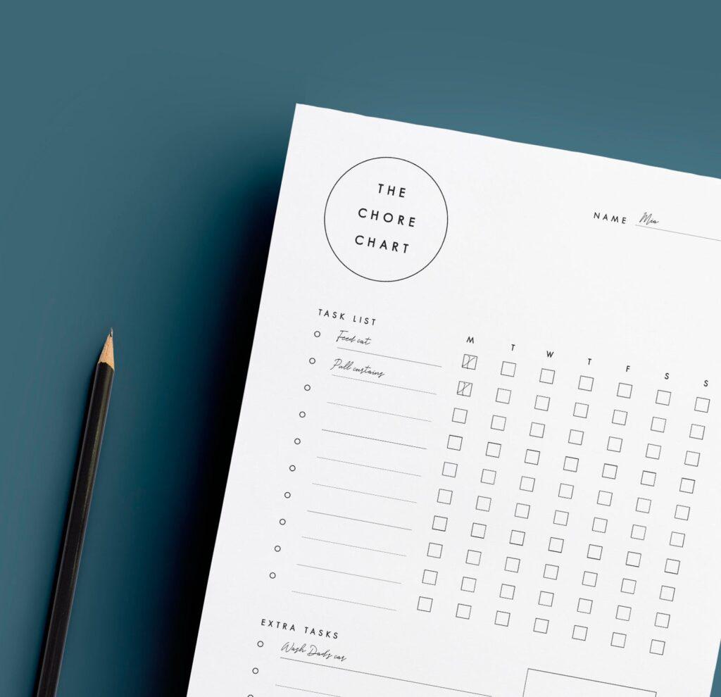 minimalist kids chore chart