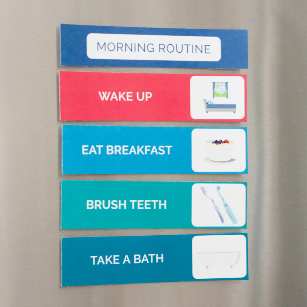morning kids routine cards